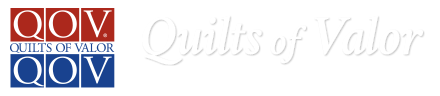 logo: Quilts of Valor - Quilts = Healing